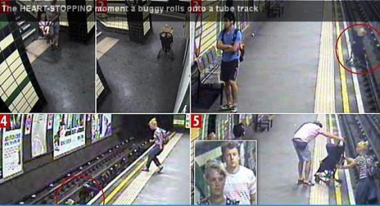 导读:英国伦敦地铁近日上演惊险一幕:一辆婴儿车被一阵气流拖拽进地铁轨道,所幸婴儿母亲及时发现,跳入铁轨方将孩子救回。  一辆婴儿车被一阵气流拖拽进地铁轨道,所幸婴儿母亲及时发现奋不顾身将其救回。 伦敦古德奇街车站的闭路电视上显示,有一名父亲把婴儿车放在广告灯箱前,突然一阵怪风把婴儿连人带车吹向月台,直冲下路轨。母亲看见立即跳下路轨救回婴儿,她刚爬上月台便有一辆列车驶进,现场相当惊险。 英国交通警察部近日公开的调查资料称,这名父亲把婴儿车放在楼梯口,再上楼梯搬另一辆婴儿车下来。停在楼梯口的婴儿车可能没有锁好